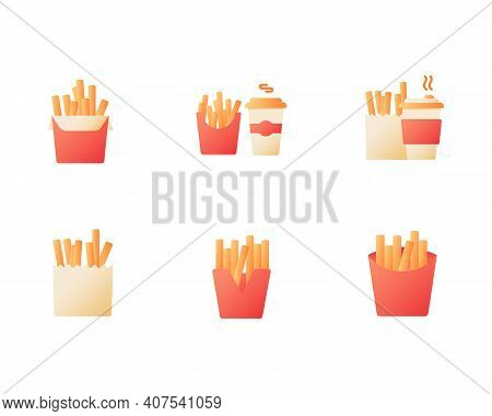 French Fries And Coffee Takeout Vector Flat Color Icon Set. Tea And Fried Potato Offer. Fast Food De
