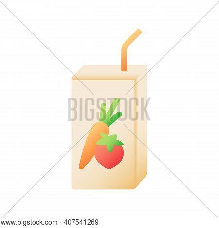 Juice Box Vector Flat Color Icon. Fresh Drink. Nourishment Liquid In Carton Pack. Nutrient Refreshme