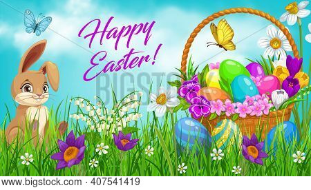 Easter Egg Hunt Basket With Bunny Vector Design. Easter Rabbit Or Hare And Painted Eggs On Green Gra