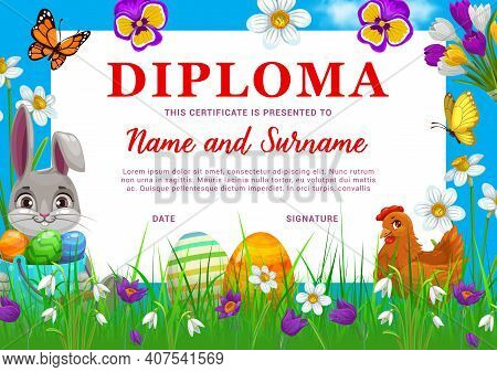 Diploma Or Certificate With Easter Eggs And Bunny, Vector Kids Education. School Graduation Diploma,