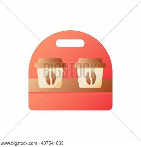 Americano To Go Vector Flat Color Icon. Coffee In Cardboard Package For Take Out. Drinks For Take Aw