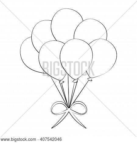 Bunch Of Festive Balloons. Birthday Baloons For Party And Celebrations. Isolated On White Background