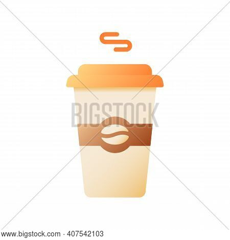 Hot Coffee In Disposable Cup Vector Flat Color Icon. Coffeeshop Order. Americano Take Out. Latte Tak