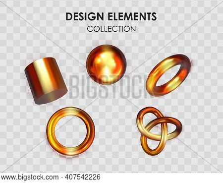 Collection Set Of Realistic 3D Render Metallic Color Gradient Geometric Shapes Objects Elements For