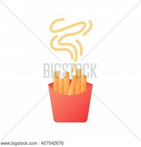 Takeout French Fries Vector Flat Color Icon. Take Away Menu. Hot Fried Potato Sticks. Catering Servi
