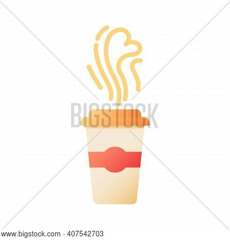 Takeout Coffee Vector Flat Color Icon. Tea For Take Away. Drink To Go. Liquid In Disposable Cup. Cof