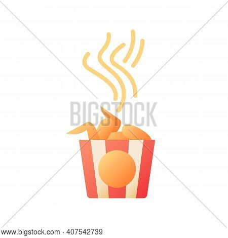 Takeout Chicken Wings Vector Flat Color Icon. Hot Meal. Fast Food Delivery. Bbq Wings In Basket. Fri
