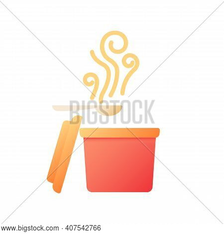 Takeout Soup Vector Flat Color Icon. Steaming Curry In Box For Take Away. Fast Food Delivery. Cateri