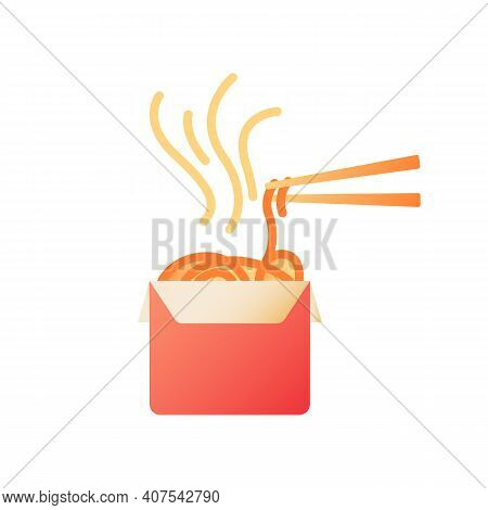 Takeout Noodles Vector Flat Color Icon. Fast Food Delivery. Chinese Cuisine For Take Away. Hot Meal