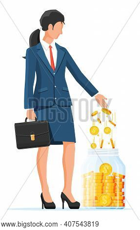Businesswoman Putting Gold Dollar Coin In Moneybox. Glass Money Jar Full Of Money. Growth, Income, S