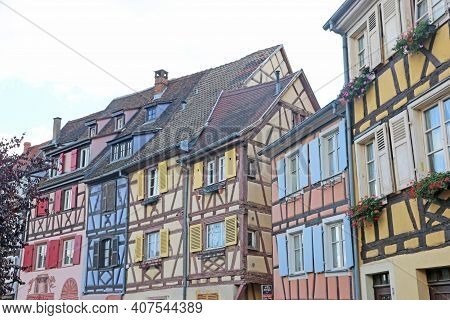 Street In The Medieval Town Of Colmar, Alsace, France