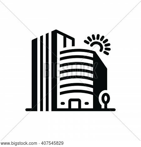 Black Solid Icon For Company Corporate Office Building Business Association Architecture Apartment R