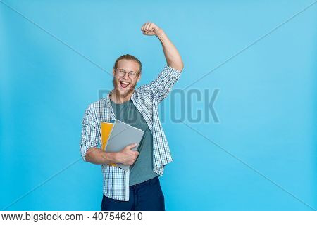 Bearded Happy Excited Rejoicing Man Student Hipster Glasses Hold Copybook Notebook Shout Yes Yeah Vi