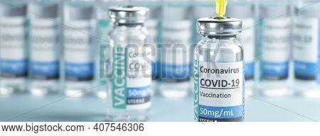 Banner Covid-19 Corona Virus 2019-ncov Vaccine Vials Medicine Drug Bottles Syringe Injection Blue Ni