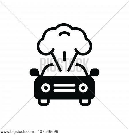 Black Solid Icon For Explosion Blast Burst Detonation Accident Explosive Car Crash