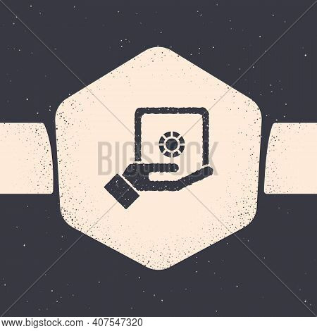 Grunge Safe In Hand Icon Isolated On Grey Background. Insurance Concept. Security, Safety, Protectio