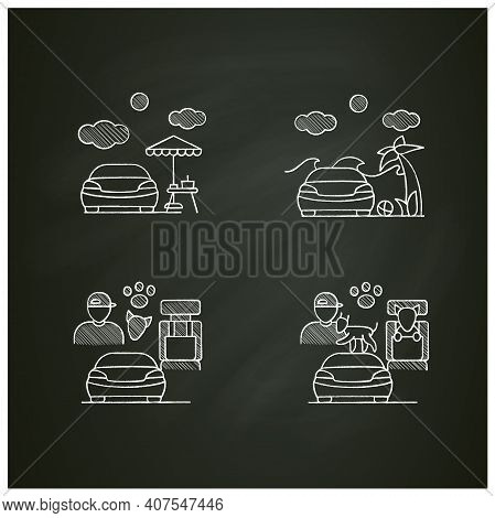 Getaway Car Chalk Icons Set. Relax And Travel By Automobile Concept. Contains Such Icons As Garage,