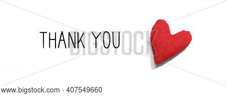 Thank You Message With A Red Heart Cushion - Flat Lay
