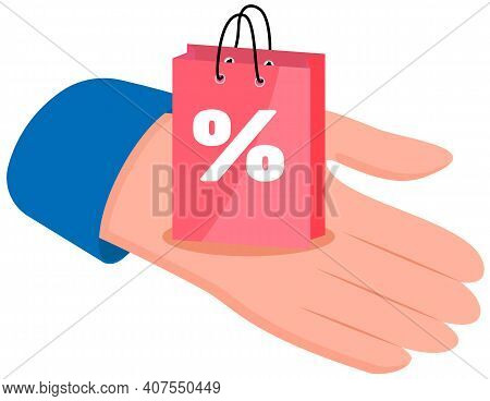 Retail Bags With Discount Flat Vector Object. Special Offer Purchases On The Human S Hand. Seasonal