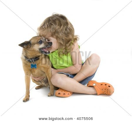 a small child petting a little chihuahua poster
