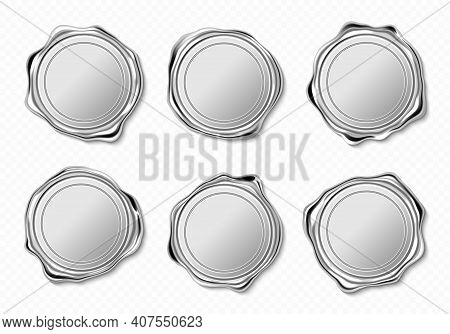 Silver Wax Seals For Letter, Guarantee Or Certificate. Vector Realistic Set Of Blank Round Wax Stamp