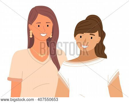Two Smiling Women Stand Together. Group Of Girls Cute Girlfriends Flat Character Vector Illustration