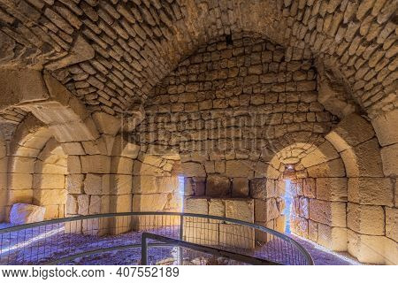 View Of The Interior Of The Southwest Tower, With Embrasures, In The Medieval Nimrod Fortress, The G