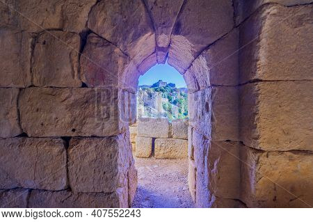 View From The Interior Of The Southwest Tower, In The Medieval Nimrod Fortress, The Golan Heights, N