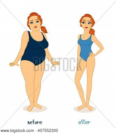 Fat And Slim Woman Figures, Before And After Weight Loss Isolated Vector Illustration