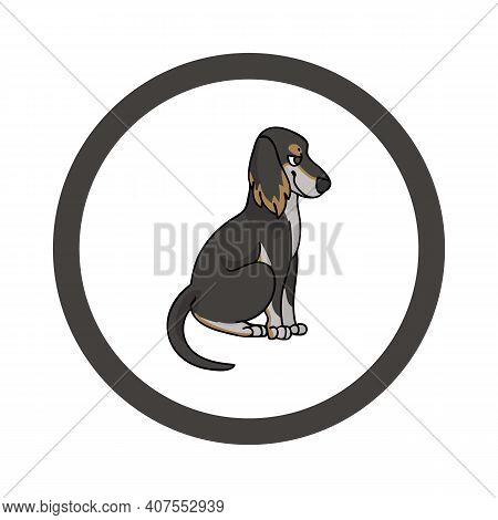 Cute Cartoon Saluki In Circle Face Vector Clipart. Pedigree Kennel Doggie Breed For Kennel Club. Pur