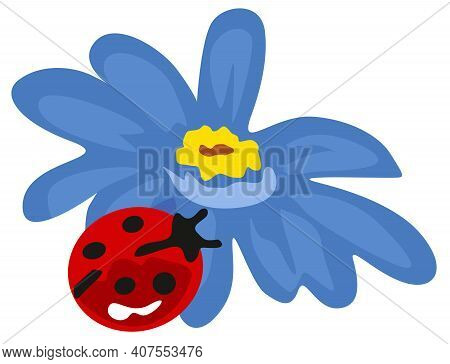 Scalable Vectorial Representing A Blue Flower With Little Ladybird, Element For Design, Illustration