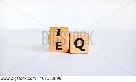 Iq Or Eq Symbol. Turned A Cube, Changed Words Iq, Intelligence Quotient To Eq, Emotional Quotient. B