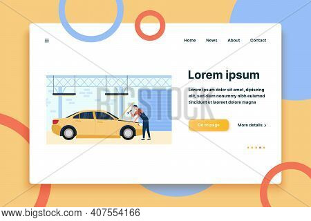 Mechanic Repairing Car In Garage With Tool Isolated Flat Vector Illustration. Cartoon Man Fixing Or