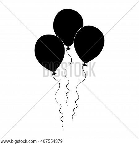 Bunch Of Helium Balloons. Birthday Baloons For Party And Celebrations. Isolated On White Background.