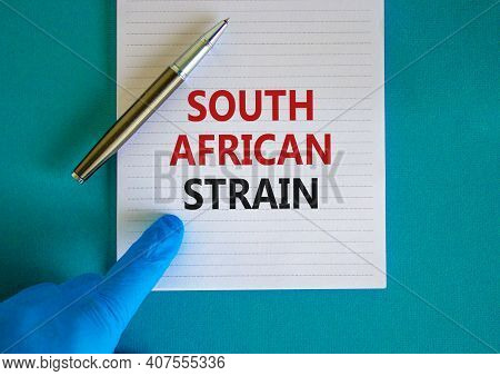 New Covid South African Strain Symbol. Hand In Blue Glove With White Card. Concept Words 'south Afri