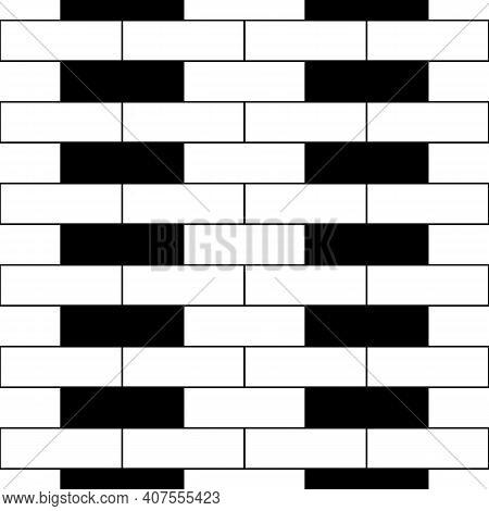 Seamless Brickwall Pattern. Bricks Cladding Wall. Walling Wallpaper. Mosaic Motif. Geometric Ornamen