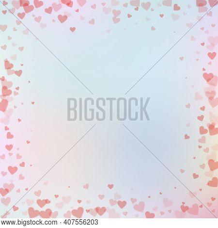 Red Heart Love Confettis. Valentine's Day Frame Sh