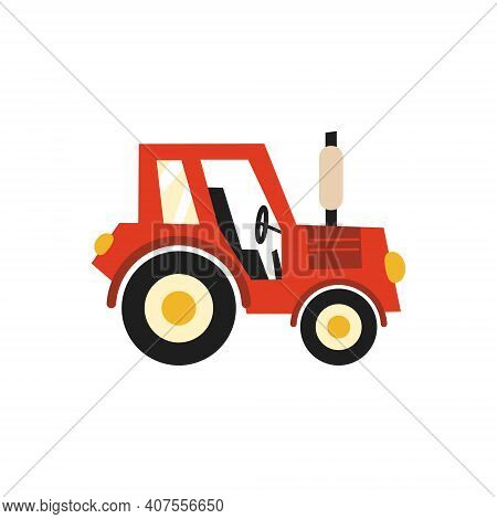 Flat Tractor On White Background. Red Tractor Icon - Vector Illustration. Agricultural Tractor - Tra