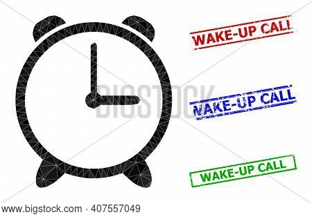 Triangle Alarm Clock Polygonal Icon Illustration, And Textured Simple Wake-up Call Stamp Imitations.