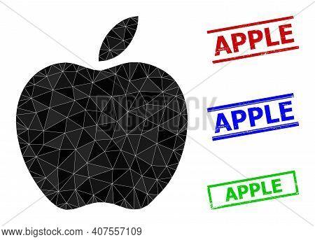 Triangle Apple Polygonal Icon Illustration, And Scratched Simple Apple Stamp Seals. Apple Icon Is Fi