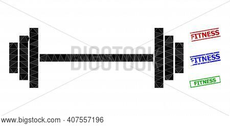 Triangle Barbell Polygonal 2d Illustration, And Rough Simple Fitness Rubber Seals. Barbell Icon Is F