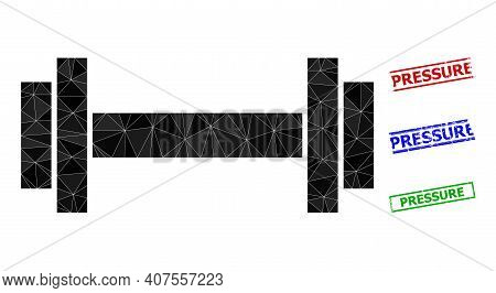Triangle Barbell Polygonal Icon Illustration, And Distress Simple Pressure Stamp Imitations. Barbell