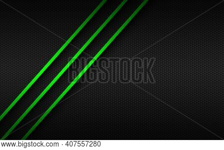 Abstact Background With Green Lines On Overlapped Layers And Polygonal Pattern. Template For Your Ba