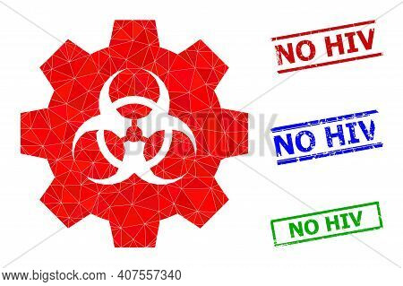 Triangle Biohazard Industry Polygonal 2d Illustration, And Textured Simple No Hiv Stamp Seals. Bioha