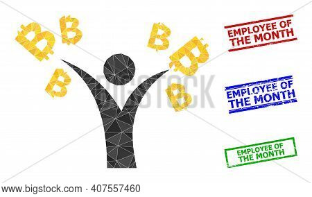 Triangle Bitcoin Man Polygonal Symbol Illustration, And Grunge Simple Employee Of The Month Stamp Se