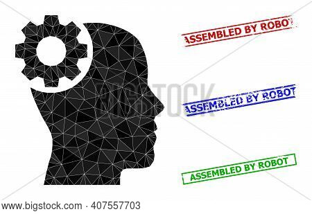 Triangle Brain Gear Polygonal 2d Illustration, And Rubber Simple Assembled By Robot Stamp Seals. Bra