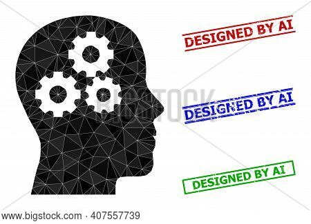 Triangle Brain Gears Polygonal Icon Illustration, And Distress Simple Designed By Ai Stamp Seals. Br
