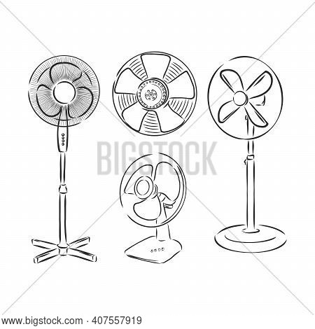 Electrical Fan Is Working Vector Cartoon, Illustration Isolated On White Background. Hand Drawn, Ske