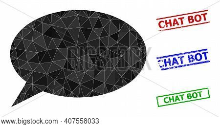 Triangle Chat Cloud Polygonal Symbol Illustration, And Textured Simple Chat Bot Stamp Seals. Chat Cl