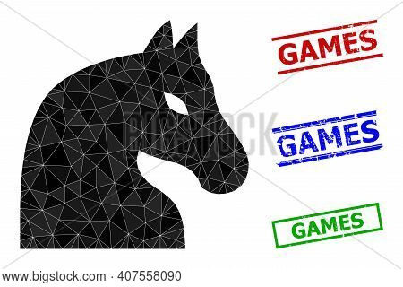 Triangle Chess Horse Polygonal Icon Illustration, And Rubber Simple Games Seals. Chess Horse Icon Is